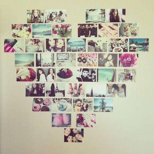 Những bức ảnh lưu lại khoảnh khắc đáng nhớ của hai bạn được dán trên tường thành hình trái tim.