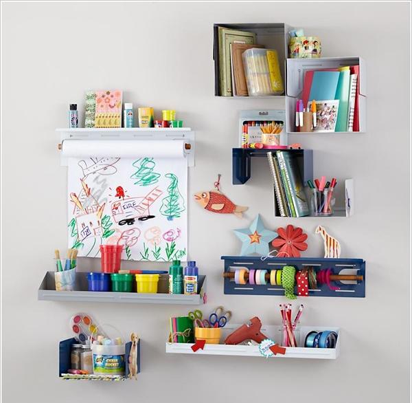 Đóng cho trẻ những chiếc giá để đồ trên tường với nhiều kiểu dáng lý thú .