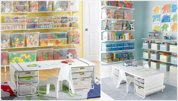 Sử dụng các khay, hộp trong bằng nhựa để cất đồ khiến căn phòng của trẻ trông sinh động và nhiều màu sắc.