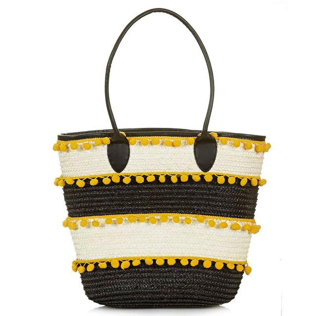 Túi cói của Topshop có màu vàng làm điểm nhấn