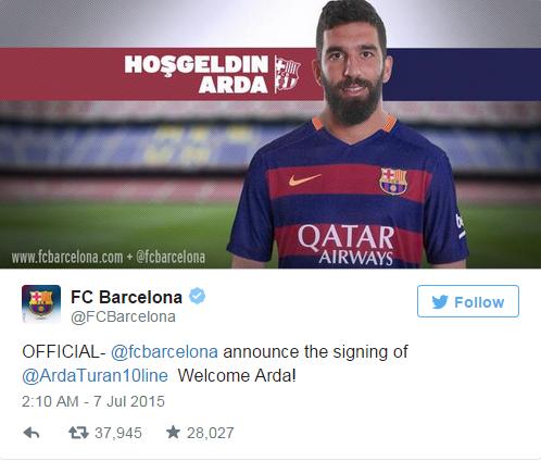 Trang Twitter của Barcelona đã chính thức xác nhận bản hợp đồng của Arda Turan