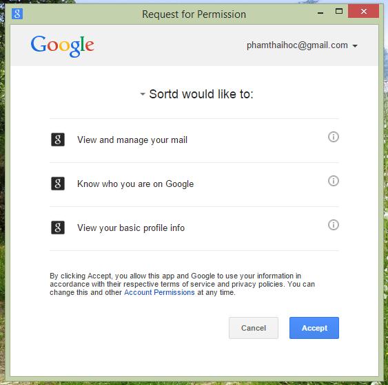 Nhấn vào Accept để cho phép Sortd hoạt động và sử dụng thông tin trên Gmail của bạn