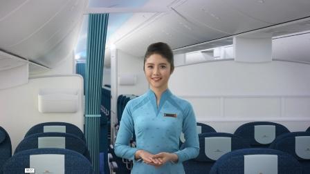 Áo dài màu xanh lam dành cho tiếp viên phục vụ hành khách hạng thường.