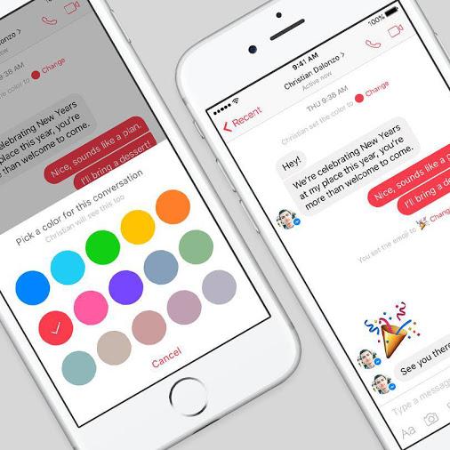 Người dùng có thể lựa chọn 15 màu sắc cho cuộc hội thoại của mình