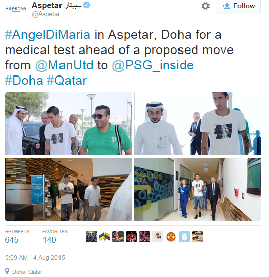 Bệnh viện thể thao Aspetar nơi Di Maria kiểm tra y tế cũng đã xác nhận việc cầu thủ người Argentina sắp chuyển tới PSG