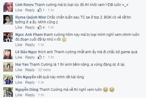 Thậm chí, trên fanpage, nhiều khán giả còn dọa không theo dõi tiếp chương trình nếu Thanh Cường bị loại.