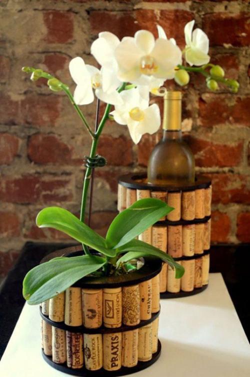 Những nút chai rượu trở thành chậu hoa hay nơi bày rượu ở trong nhà.