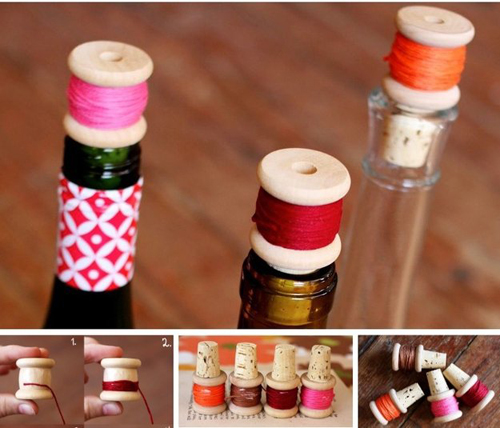 Đơn giản hơn, bạn có thể dùng nút chai làm cuộn chỉ, cuộn len.
