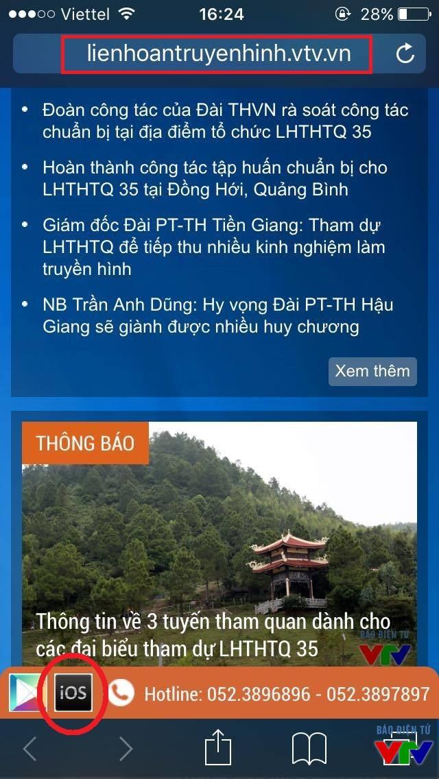Tải ứng dụng LHTHTQ dành cho hệ điều hành iOS trên trang thông tin của Liên hoan Truyền hình toàn quốc