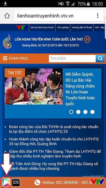 Tải ứng dụng từ trang thông tin của Liên hoan Truyền hình toàn quốc