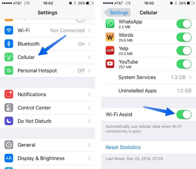 Cách tắt tính năng Wi-Fi Assist trên iOS 9