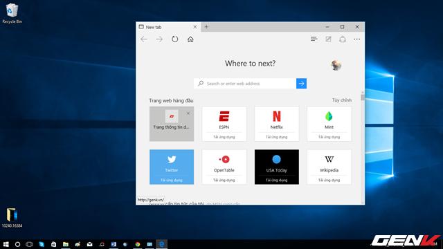 Giao diện trình duyệt mới Microsoft Edge
