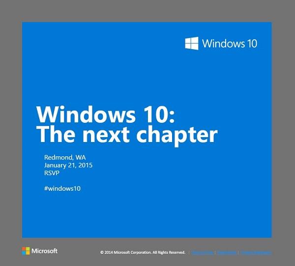 Microsoft sẽ tổ chức sự kiện cập nhật những tính năng mới của Windows 10 ngày 21/1/2015