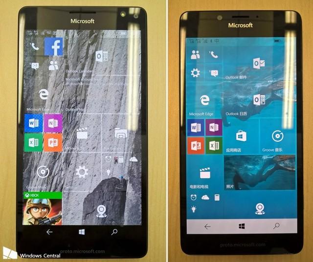 Hình ảnh rò rỉ mặt trước của Lumia 950 XL (trái) và Lumia 950 (phải)