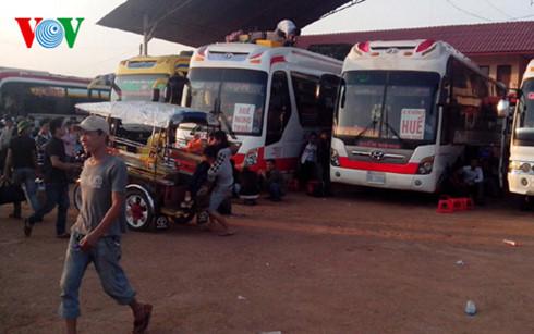 Quang cảnh bến xe Vientiane.