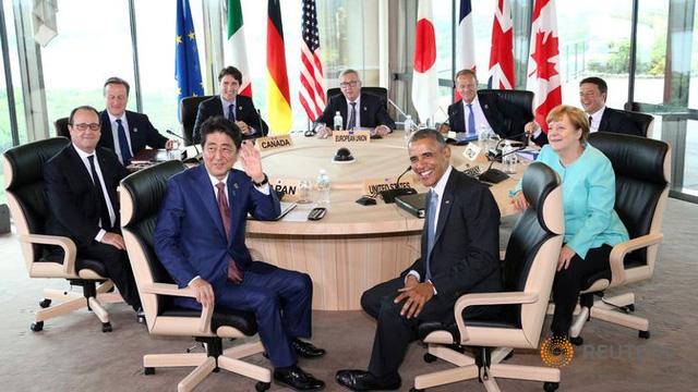Các nhà lãnh đạo khối G7 nhóm họp bên trong khách sạn Shima Kanko.