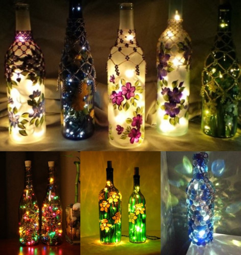 Bạn có thể dễ dàng biến những chai thủy tinh thành những ngọn đèn thanh lịch bằng cách trang trí chúng với những vòng hoa đẹp.