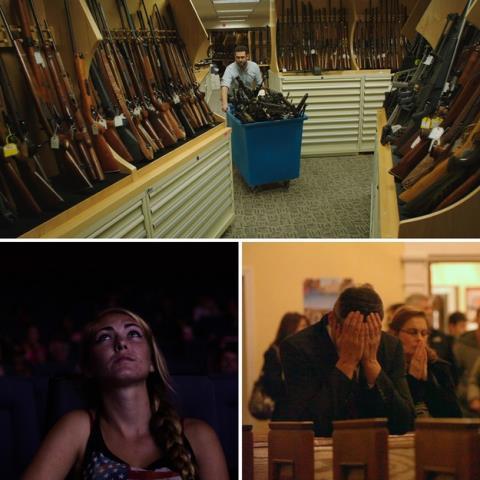 Những cảnh được trích từ phim Under the Gun, Newtown, Dark Night (từ trên xuống). Ảnh: Buzz Feed