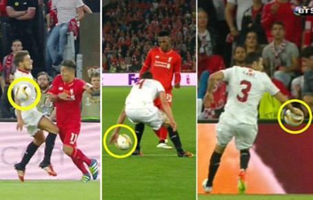 Ba tình huống các cầu thủ Sevilla để bóng chạm tay trong vòng cấm