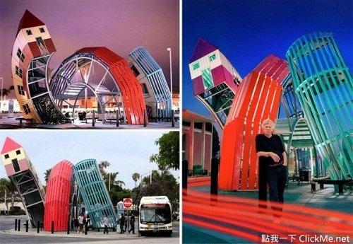 Những ngôi nhà cao tầng được thu nhỏ thành trạm xe bus ở California, Mỹ.
