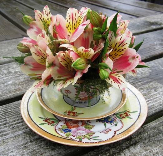 Đặt hoa tươi trong một tách trà.