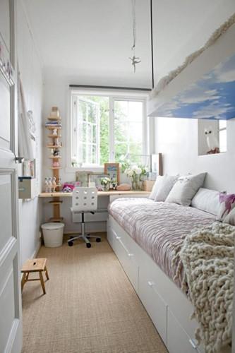 Một ý tưởng tuyệt vời cho phòng hình chữ nhật hẹp.