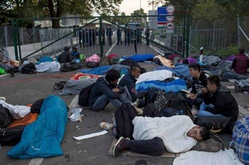 Người tị nạn bị mắc kẹt qua đêm ngoài trời ở khu vực biên giới Serbia - Hungary. (Ảnh: Mirror)