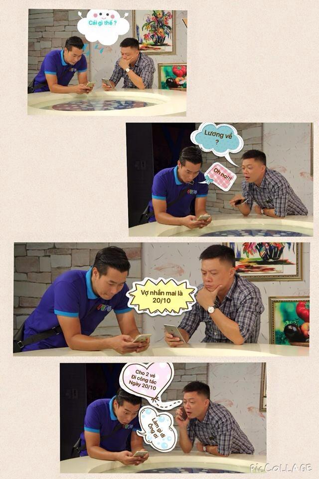 BTV Hoa Thanh Tùng và BTV Quang Minh cũng không thua kém các nhân viên nhà hàng khi tạo ảnh chế.