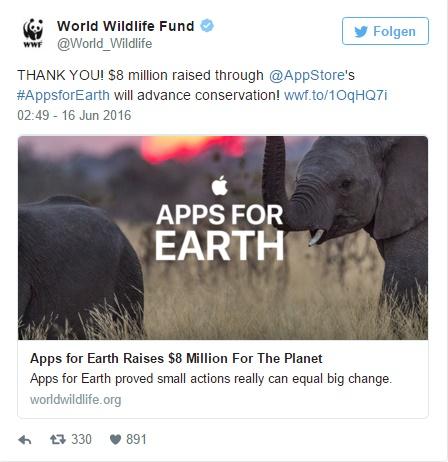 WWF chia sẻ trên Twitter niềm vui trước sự ủng hộ của người dùng