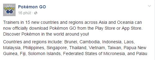 Thông báo của Niantic về việc phát hành Pokémon GO tại các quốc gia châu Á và châu Đại Dương