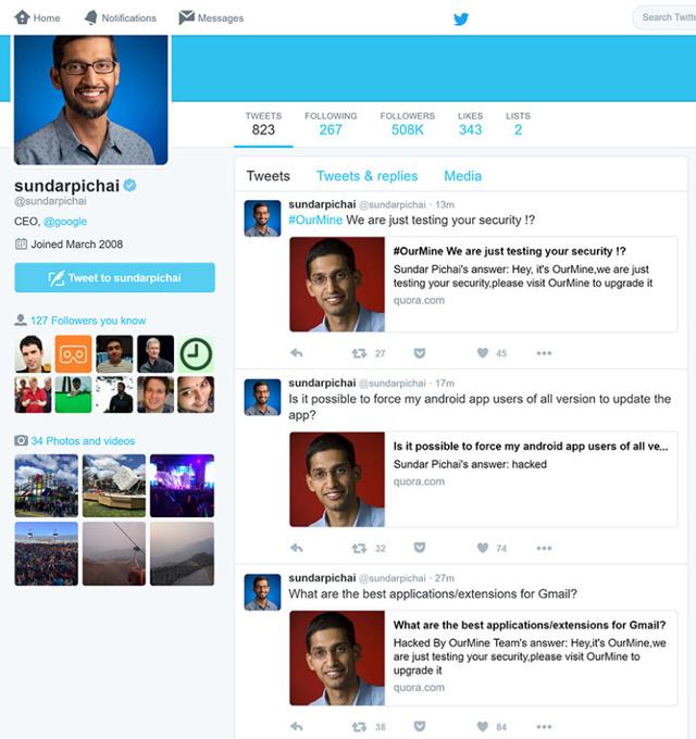 Những thông điệp được OurMine đăng tải trên tài khoản Quora của Sundar Pichai cũng hiển thị trên tài khoản Twitter của vị CEO này