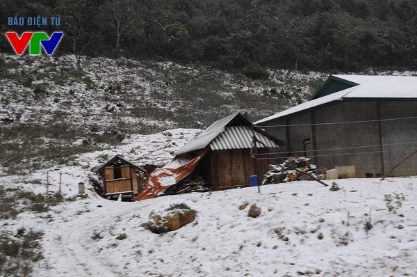 Các mái nhà ở Mộc Châu - Sơn La đều phủ trắng tuyết