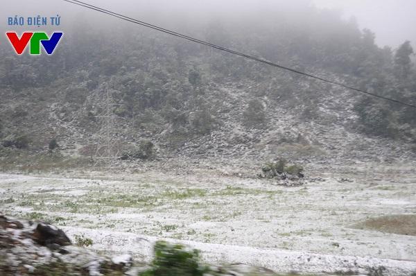 Các khoảng đất trống tại Mộc Châu - Sơn La được phủ một lớp băng giá trắng xóa