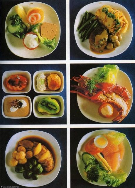 Tôm hùm được thường xuyên xuất hiện trên menu của hãng hàng không Scandinavian Airlines. Bức ảnh này được chụp vào năm 1981, cho thấy những gì bạn được phục vụ khi bay hạng thương gia