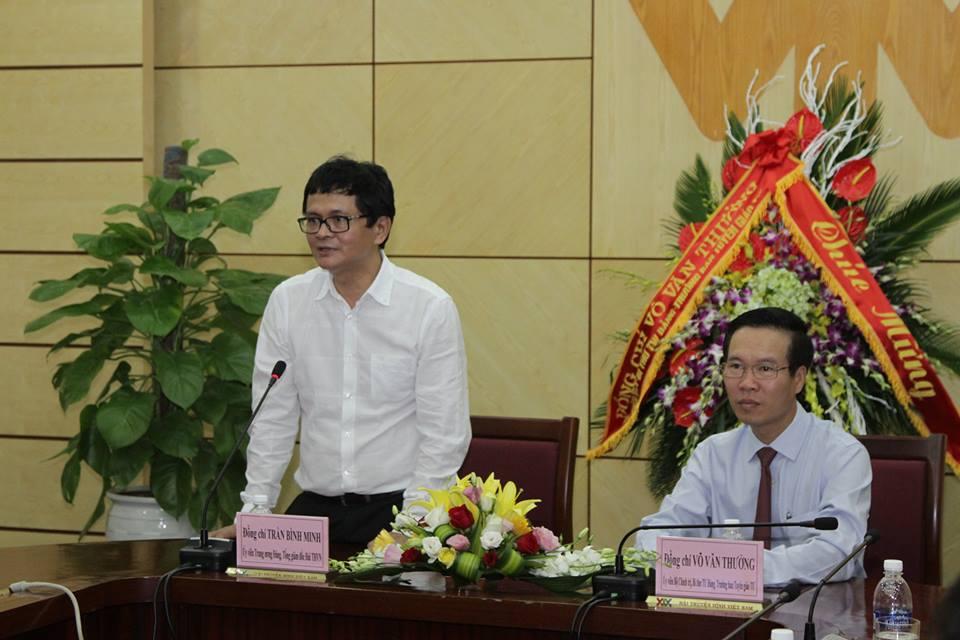 Tổng Giám đốc Trần Bình Minh bày tỏ lời cảm ơn đối với sự quan tâm của Trưởng Ban Tuyên giáo Trung ương và gửi lời chúc mừng các đồng chí của Ban Tuyên giáo Trung ương nhân ngày Báo chí Cách mạng Việt Nam (21/6).