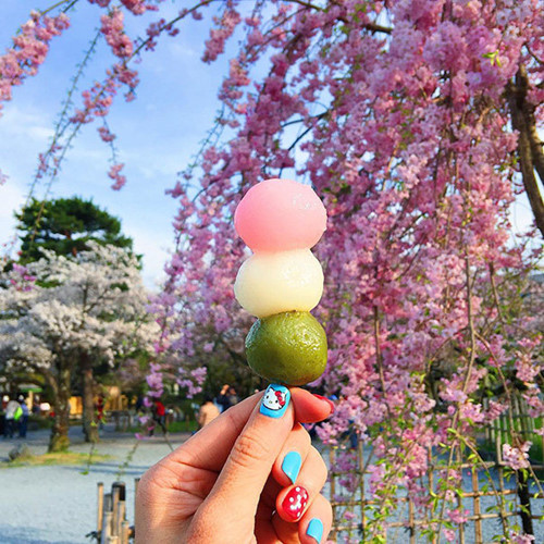 Bánh trôi xiên que ở Nhật.