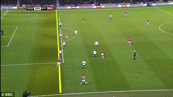 Rooney đã việt vị khi Martial chuyền bóng