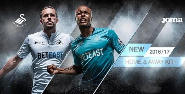 Swansea với ao đấu màu trắng cho các trận sân nhà và màu xanh cho các trận sân khách.