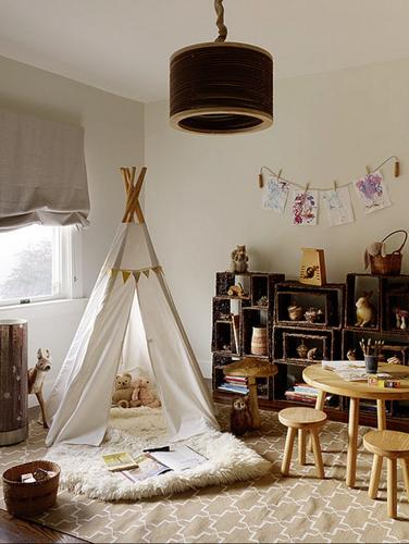 Phòng ngủ cho các bé thích chơi cắm trại.