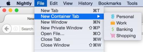 Để đăng nhập vào tài khoản Facebook mới, người dùng chọn New Container Tab