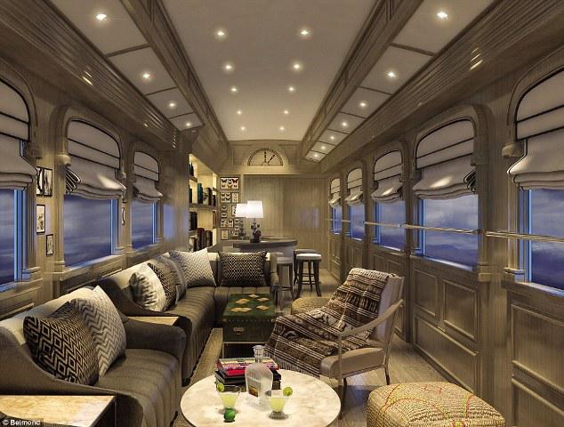 Các toa xe được mô phỏng như phòng chờ siêu sang của những khách sạn hiện đại với quầy bar, đàn piano và những chiếc ghế bành lớn để thư giãn.