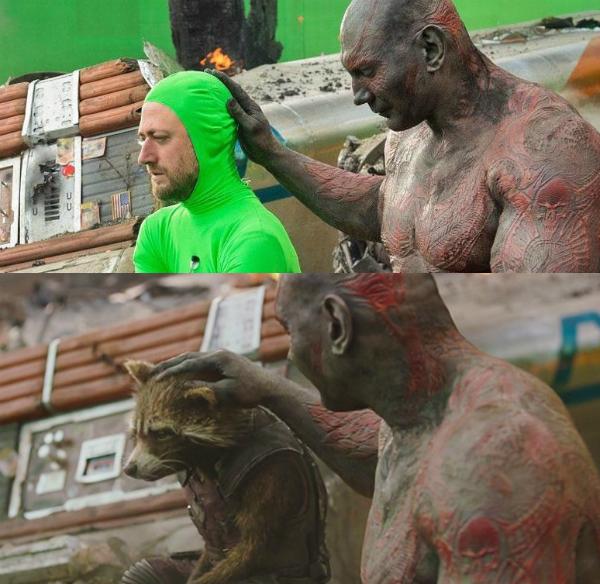 Còn nhân vật trong phim The Guardians of The Galaxy đã được biến hóa từ người thật.