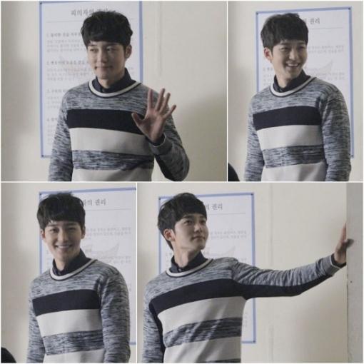 Nam diễn viên điển trai Kim Jin Woo tạo dáng ở trường quay.
