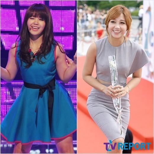 Bắp tay và bắp đùi to từng khiến Jung Eun Ji thiếu tự tin trên sân khấu. Thế nhưng giờ đây, sau khi đã giảm cân thành công, cô nàng đã không còn e dè khi diện những bộ cánh bó sát và lộ tay.