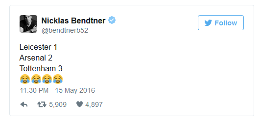 Thánh Bendtner cũng phải lên tiếng vì sự thảm hại của Tottenham.
