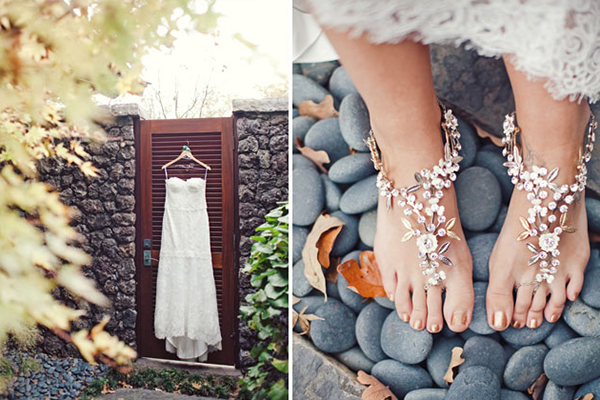 Với đám cưới trên bãi biển, cô dâu không nên đi giày cao gót mà có thể đi sandal hay đi chân trần và tạo điểm nhấn bằng chi tiết trang trí đính đá
