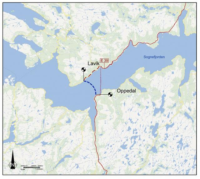 Đường hầm sẽ kết nối giữa Oppedal và Lavik.