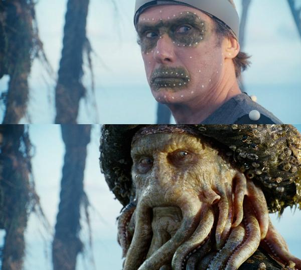 Trong phim Pirates of the Caribbean, nhân vật Davy Jones đã được kỹ xảo bồi thêm cho những chiếc xúc tu trên gương mặt.