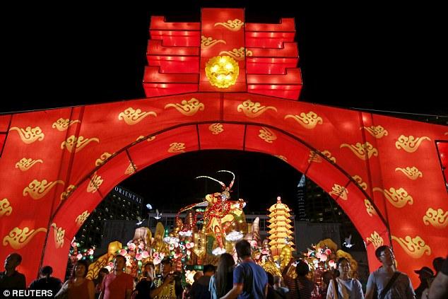 Lễ hội River Hongbao tại Singapore (Ảnh: Reuters)